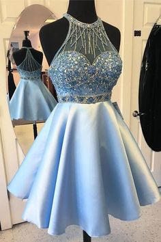 New Arrival Halter Light Blue Beads Chraming Short Prom Dress Homecoming Dresses For Party LD471