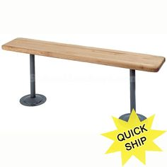 "Maple Top Hardwood Benches with Tubular Pedestals--available in several widths ( 9 1/2"", 12"", 15"" & 18""). Strong and durable!"