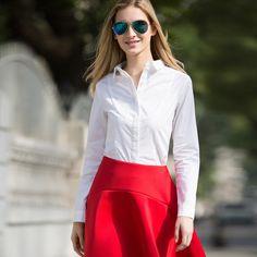 ebed678fa42 Veri Gude Women s Slim Fit Cotton Long Sleeve Formal Shirt Women Solid  Turn-Down Collar