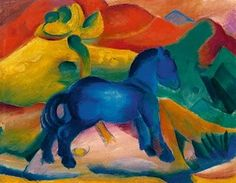 Blaues Pferdchen  by Franz Marc Franz Marc, Wassily Kandinsky, Painted Horses, Blue Rider, Expressionist Artists, Blue Horse, Ouvrages D'art, Equine Art, Horse Art