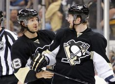 Kris Letang and Paul Martin stop to have a good laugh during Game 5 of the Eastern Conference Quarterfinals against NYI 5/9/13