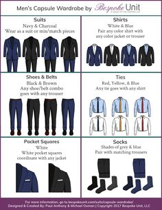 Just because you have a closet full of clothes doesn& mean that they work together or are even coherently thought out. Learn how to make a smart investment Capsule Wardrobe Men, Mens Wardrobe Essentials, Men's Wardrobe, Best Mens Fashion, Mens Fashion Suits, Mens Suits, Groom Suits, Groom Attire, Mens Style Guide