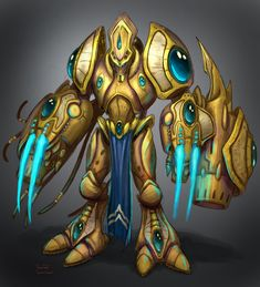 View an image titled 'Protoss Zealot Art' in our StarCraft II: Wings of Liberty art gallery featuring official character designs, concept art, and promo pictures. Alien Concept Art, Game Concept Art, Fantasy Armor, Dark Fantasy Art, Game Character Design, Character Concept, Larp Armor, Starcraft 2, Stars Craft