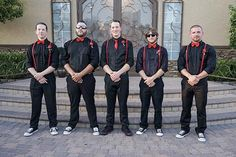 Rock n Roll wedding | punk rock groomsmen at Rockabilly wedding. Great idea for casual and fun wedding.
