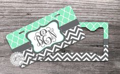 Set of TWO - Mint Trellis pattern and Charcoal Gray chevron, Monogrammed License plate and License Plate Frame, moroccan pattern