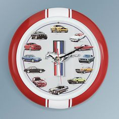 "The Engine Growling Mustang Clock - This is the wall clock that celebrates the Ford Mustang, America's definitive muscle car since 1964. In place of numbers, the 13"" clock face features 12 legendary models ranging from the inaugural ""1964 1/2"" convertible coupe to the modern Boss 305."