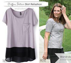 Wenn das T-Shirt zu kurz ist, dann einfach mit einem anderen Stoff verlängern! 👍🏻😊♥️