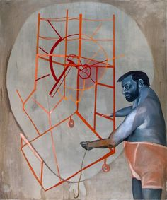 Ohne Titel (Untitled) 1988, oil on canvas,  94 1/2 x 78 3/4 in., private collection, © Estate Martin Kippenberger, Galerie Gisela Capitain, Cologne