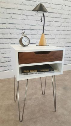 Mid-Century Modern Nightstand Bedside Table White End
