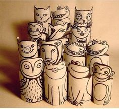 Sharpies on paper tubes = great puppets