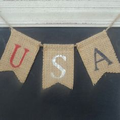 USA mini banner...just what your front door wreath needs for the 4th of July.