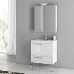 ACF by Nameeks ACF ANS14-GW New Space 23-in. Single Bathroom Vanity Set - Glossy White - ACF ANS14-GW-1