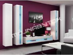Moderná lesklá závesná obývacia stena VIGO 14 latte / biela - mojnabytok.sk Latte, Flat Screen, Led, Blood Plasma, Flatscreen, Dish Display
