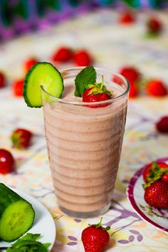Why not whip up this delicious strawberry, mint and cucumber smoothie recipe for breakfast by Hemsley & Hemsley.