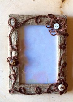 Country twine picture frame by BurlapbuttonsNmore on Etsy
