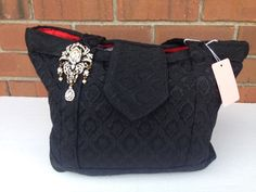 Black Beauty Purse With Pin (318) by MothersApronString on Etsy