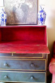painted in Old Violet with the inside Emperors Silk/Red Beret  (Annie Sloan chalk paint?)
