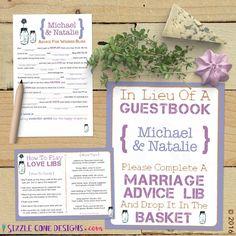 Custom Mason Jar Wedding Mad Lib Guest Book by SizzleConeDesign