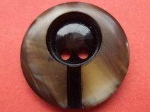 9 KNÖPFE schwarz braun 21mm (1384-3) Jackenknöpfe