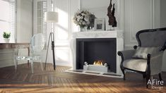 AFIRE Ethanol Fireplace Insert: bring your current, sleeping fireplace back to life with a remote-controlled high-tech bio ethanol burner insert Style At Home, Foyers, Deco Baroque, Apartment Decoration, Ethanol Fireplace, Traditional Fireplace, Parisian Apartment, Fireplace Inserts, Cool Coffee Tables