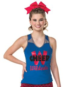The Zentense Tank top is a perfect look for cheer camp and summer clinics!. This tank features contrasting color mesh inserts for a sporty look! Don't forget to add customization to complete your perfect practice tank! #Cheer #Summer #Camp #Clinic #CampWear
