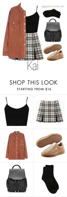 """""""At the Airport // Kai"""" by suga-infires ❤ liked on Polyvore featuring Topshop, Carven, Puma, rag & bone and Erika Cavallini Semi-Couture"""