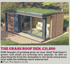 Choosing a shed - Pod Space Pod Space is a new garden office company - with a rather nice web site - set up by architecturally trained designer Ben Lord. Interestingly, and this is a trend I expect to see more of in the pods (there are three models) Garden Office Shed, Backyard Office, Backyard Studio, Backyard Cottage, Garden Cottage, Shed Design, House Design, Tiny House, Garden Pods