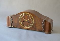 Antique mantel clock table clock wooden clock art by MightyVintage