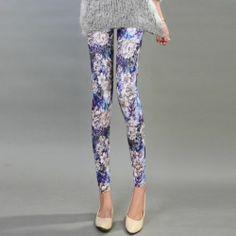 purple blue Sexy Fashion Women Girl Flora Flower Print Legging Pants 1 pcs NEW $8.56
