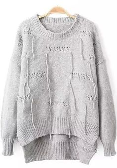 Grey Plain Tassel Irregular Pullover Sweater