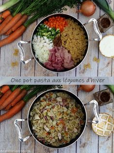 One pot pasta with winter vegetables, chicken, bacon and mustard sauce - Amandine Cooking - Cuisine - Healthy Recipes Easy Vegetarian One Pot Meals, Healthy One Pot Meals, Easy One Pot Meals, Vegetarian Recipes Easy, Easy Chicken Recipes, Beef Steak Recipes, Meat Recipes, Pasta Recipes, Dinner Recipes