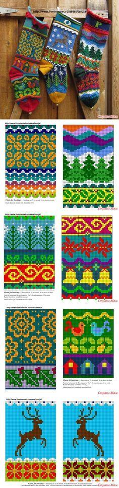 Рождественские носочки от Kirsten Hall - Жаккард - Страна Мам
