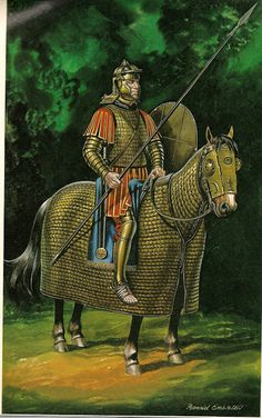 A Roman cataphractarius, or heavy cavalryman with full armor, rests with his fully armored horse in a forest.