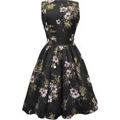 Pastel Pink Floral on Black Tea Dress (6,070 INR) ❤ liked on Polyvore featuring dresses, vintage dresses, vintage tea party dresses, vintage day dress, tea dress, floral skater skirt and tea party dresses