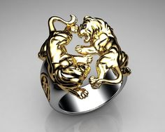 Unique Mens Jewelry Ring Lion Ring Sterling Silver and Gold with Black Design