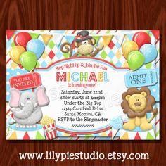 Strongman carnival circus birthday invitations Twins 5th