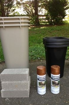 33 Ways Spray Paint Can Make Your Stuff Look More Expensive. Use cheap plastic trash cans as planters. With a little bit of spray paint and they look high end - How to Tutorials Diy Looking Glass Spray Paint, Krylon Looking Glass, Large Outdoor Planters, Tall Planters, Cheap Planters, Planter Pots, Planter Ideas, Flower Planters, Modern Planters
