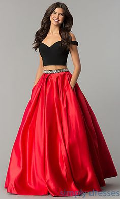 Shop long sweetheart two-piece prom dresses at Simply Dresses. Long satin two-piece formal prom dresses with black bodices and embellished red skirts with box pleats and pockets.