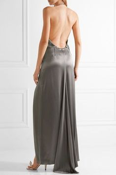 Halston Heritage - Double-faced Satin Halterneck Gown - Gray - US12