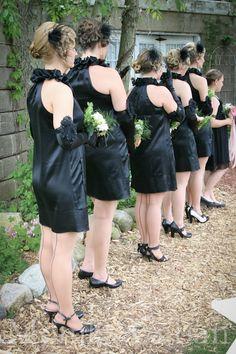 1920s wedding, black bridesmaid's dress,