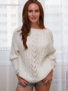 Купить Пуловер реглан с ажурным рисунком. - белый, вязаный свитер, свитер, свитер вязаный