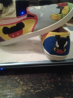 81b6f089a5e2 Mickey Mouse Hand Painted Shoes