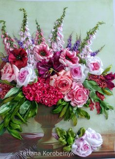 picture Flower composition Silk ribbon by SilkRibbonembroidery, €100.00