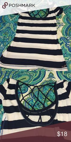 This is a striped navy and white hollister shirt. It is brand new without tags and a size small. Great 4th of July or beach shirt.  Can be dressed up or down!!! Hollister Tops Tees - Short Sleeve