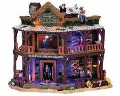 75553 - Dry Gulch Hotel/Saloon, with Adaptor - Lemax Spooky Town Halloween Village Houses & Buildings - Lemax Village Collectibles Halloween Diorama, Halloween Village Display, Halloween Miniatures, Halloween Quilts, Halloween House, Halloween Stuff, Halloween Ideas, Halloween Decorations, Lego Halloween