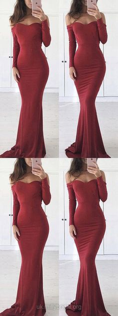 Burgundy Prom Dresses,Long Prom Dresses Jersey, Off-the-shoulder Prom Dresses Sheath/Column, Mermaid Prom Dresses For Teens