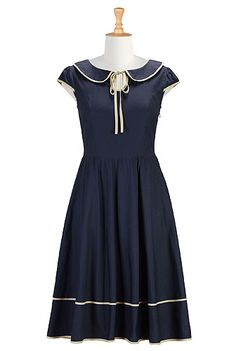 I <3 this Tipped trim Peter Pan collar dress from eShakti