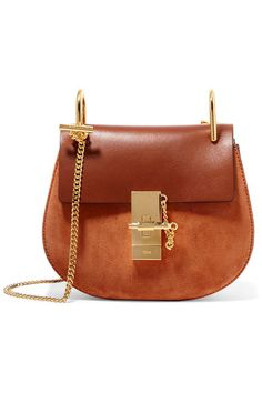 53a9caa6718 Brown leather, caramel suede (Calf) Pin and clasp-fastening front flap  Designer