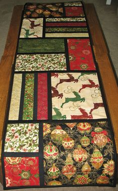 Christmas Table Runner Quilted from Kaufman by PicketFenceFabric