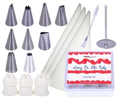 Cake Decorating Starter Kit to Decorate Cakes, Cupcakes, Cookies and Pastries Like a Master Professional, Includes 9 Stainless Steel Tips, 3 Icing Bags, 3 Couplers and FREE Cleaning Brush ** See this great image @ : Baking tools